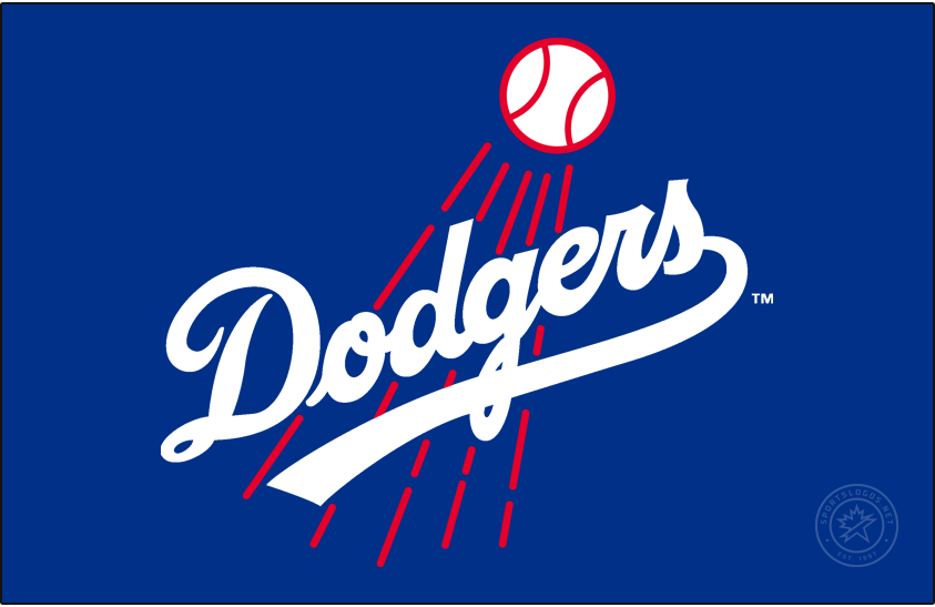 Los Angeles Dodgers Logo Primary Dark Logo (1968-1971) - The Los Angeles Dodgers made some tweaks to their logo in 1968, most noticable is the scripted team name in blue was now much more thick than before. The red streaking baseball behind also was made thicker, and the entire logo was rotated slightly to the left. The Dodgers would continue to use this logo past 1971 but with a darker shade of blue. SportsLogos.Net