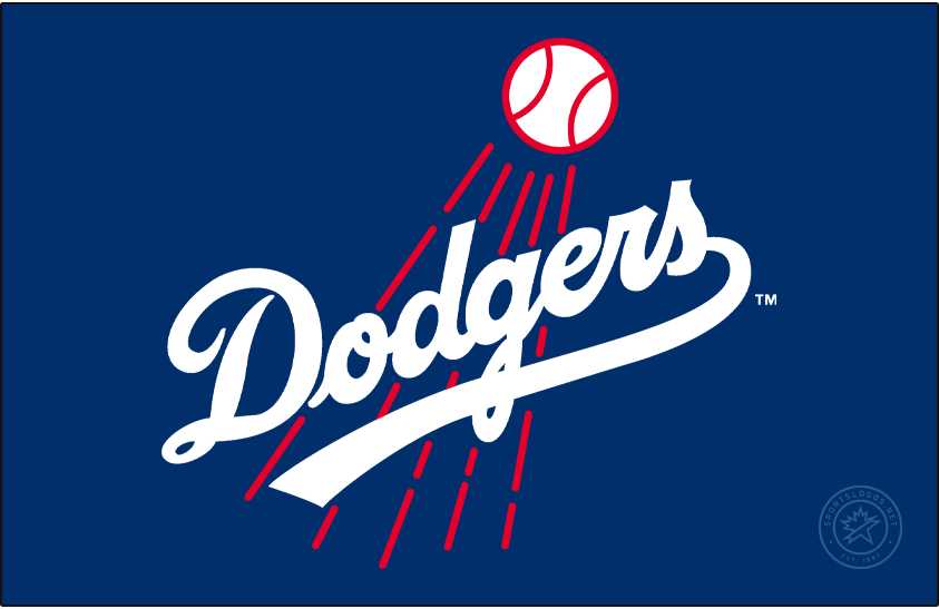 Los Angeles Dodgers Logo Primary Dark Logo (1972-1978) - The Los Angeles Dodgers made some tweaks to their logo in 1968, most noticable is the scripted team name in blue was now much more thick than before. The red streaking baseball behind also was made thicker, and the entire logo was rotated slightly to the left. The Dodgers darkened the shade of blue used on this logo in time for the 1972 season and continued to use it through the end of 1978. SportsLogos.Net