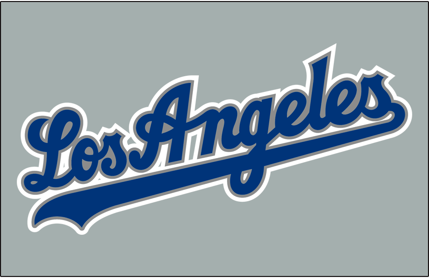 Los Angeles Dodgers Logo Jersey Logo (2002-2006) - (Road) Los Angeles script in blue with silver and white outlines SportsLogos.Net