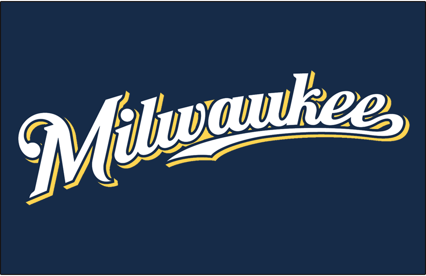 Milwaukee Brewers Logo Jersey Logo (2016-2019) - Milwaukee arched in white and yellow on navy blue, worn on Brewers home and road Sunday alternate jerseys starting in 2016 SportsLogos.Net