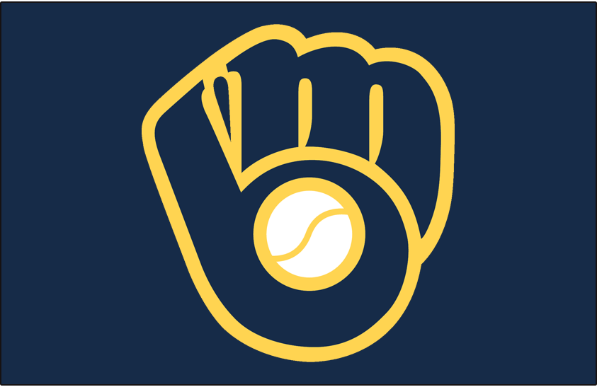 Milwaukee Brewers Logo Cap Logo (2016-2019) - Ball and glove MB logo in modern navy Brewers blue with retro yellow trim, worn on navy blue cap with Sunday alternate uniforms SportsLogos.Net