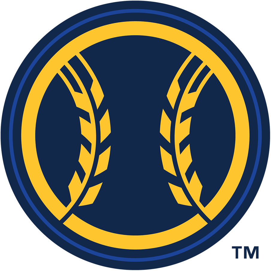 Milwaukee Brewers Logo Alternate Logo (2020-Pres) - A navy blue baseball with yellow wheat in place of the stitching SportsLogos.Net