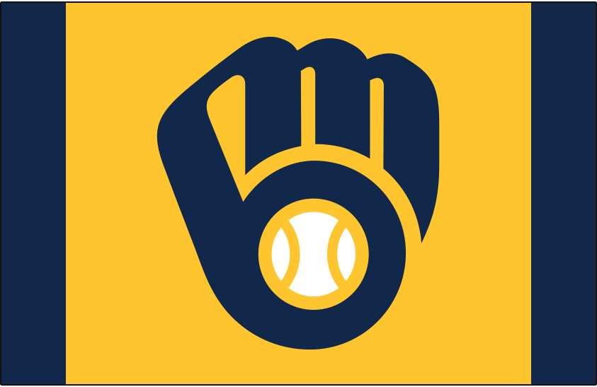 Milwaukee Brewers Logo Cap Logo (2020-Pres) - Brewers ball-in-glove logo on a yellow front panel with navy blue crown, worn as a road alternate cap starting in 2020 SportsLogos.Net