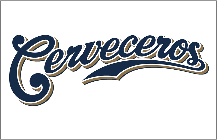 Milwaukee Brewers Logo Special Event Logo (2006) - Milwaukee Brewers Cerveceros Spanish language jersey font, worn on white jersey for one game during 2006 season (and again during Spring Training in 2015) SportsLogos.Net