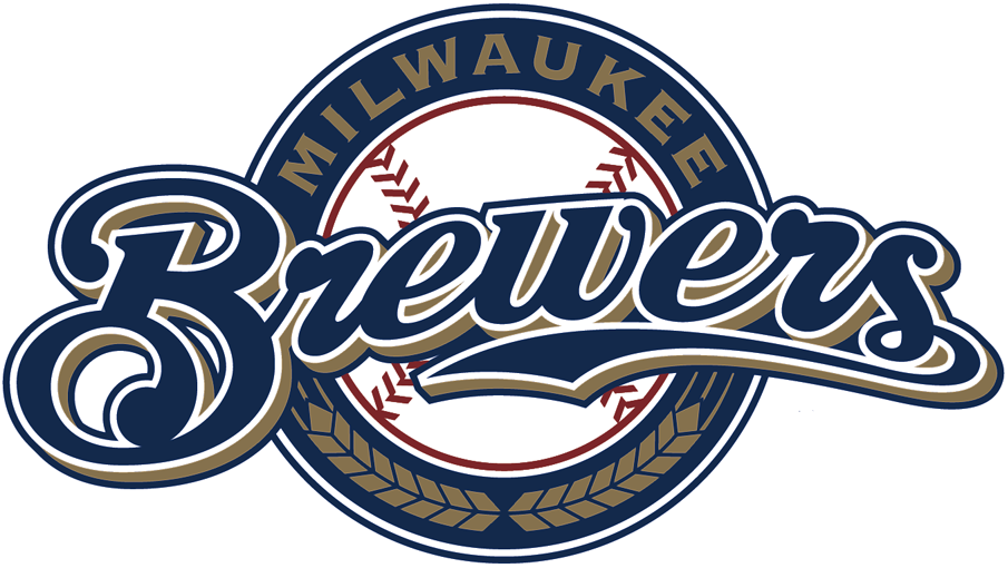 Milwaukee Brewers Logo Alternate Logo (2018-2019) - Brewers scripted in blue and gold on a blue circle with baseball, gold wheat below SportsLogos.Net