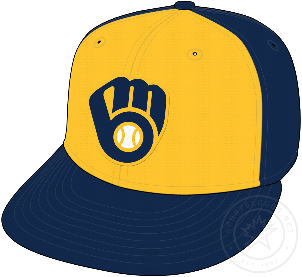 Milwaukee Brewers Cap Cap (2020-Pres) - Navy blue cap with updated ball-in-glove logo on a gold front panel, worn as alternate road cap starting in 2020 SportsLogos.Net