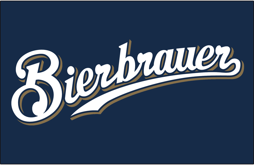 Milwaukee Brewers Logo Special Event Logo (2011) - Milwaukee Brewers Bierbrauer German language jersey font, worn on navy blue jersey for one game only in 2011 SportsLogos.Net