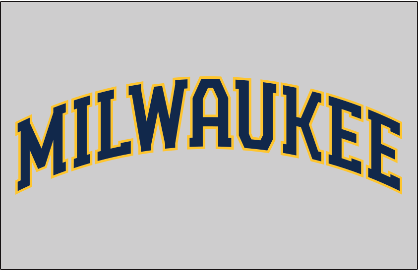 Milwaukee Brewers Logo Jersey Logo (2020-Pres) - MILWAUKEE arched in blue and gold on a grey jersey, worn on Milwaukee Brewers road jersey starting in 2020 SportsLogos.Net