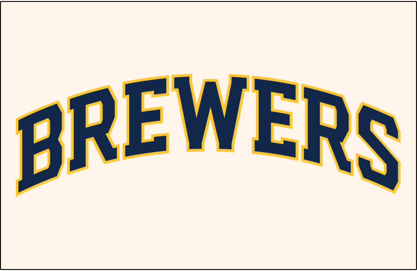 Milwaukee Brewers Logo Jersey Logo (2020-Pres) - BREWERS arched in blue and gold on a cream jersey, worn on Milwaukee Brewers home jersey starting in 2020 SportsLogos.Net
