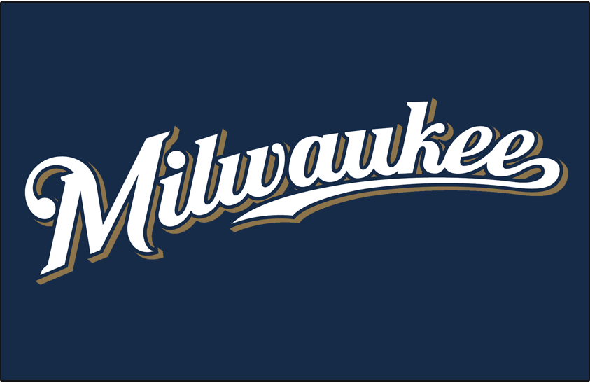 Milwaukee Brewers Logo Jersey Logo (2010-2015) - (Alternate) Milwaukee scripted in white with a navy outline and a gold shadow on navy SportsLogos.Net