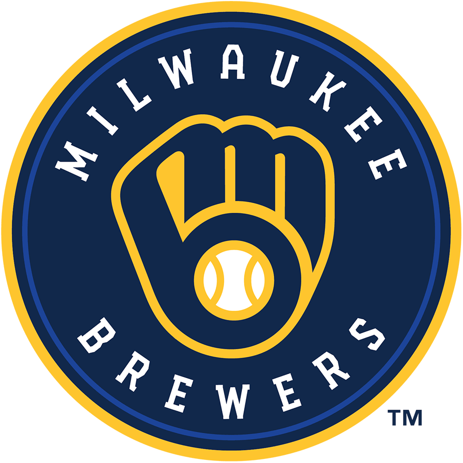 Milwaukee Brewers Logo Primary Logo (2020-Pres) - An M and a B in the shape of a baseball glove in navy, royal blue, and yellow inside a circle with team name written around it SportsLogos.Net