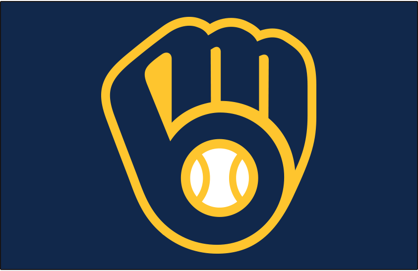 Milwaukee Brewers Logo Cap Logo (2020-Pres) - Brewers ball-in-glove logo on navy blue, worn as primary cap logo for both home and road games starting in 2020 SportsLogos.Net