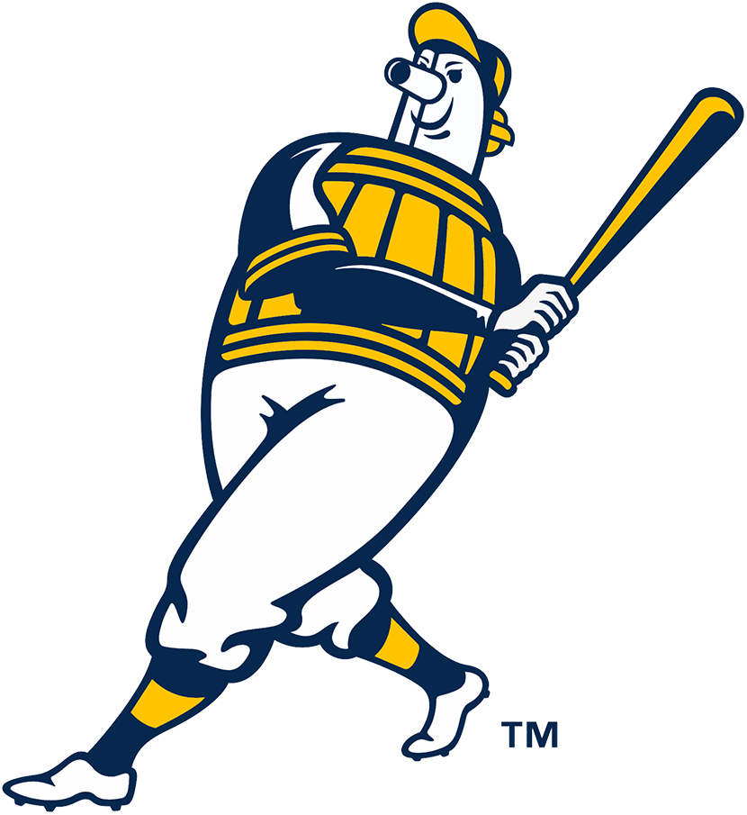 Milwaukee Brewers Logo Alternate Logo (2020-Pres) - Brewers original Beer Barrell Man logo updated with new colour scheme and a more agressive look SportsLogos.Net