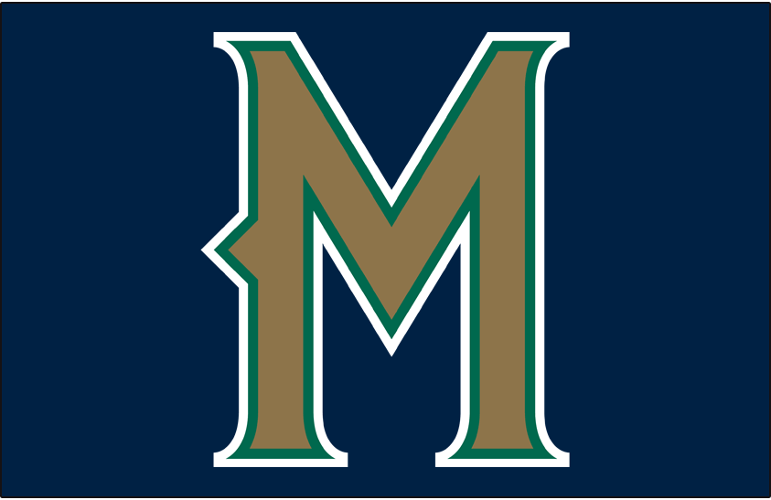 Milwaukee Brewers Logo Cap Logo (1998-1999) - Stylized M in gold with green and white outlines on blue, worn for Brewers road games only from 1997 to 1999 SportsLogos.Net