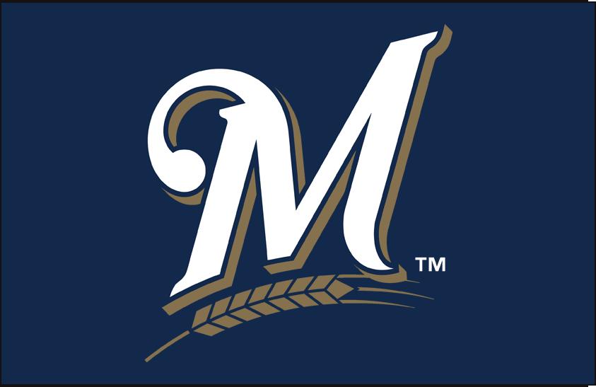 Milwaukee Brewers Logo Primary Dark Logo (2018-2019) - White M with wheat below in gold on blue SportsLogos.Net
