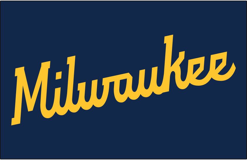 Milwaukee Brewers Logo Jersey Logo (2020-Pres) - MILWAUKEE scripted in yellow on a navy blue jersey, worn on Milwaukee Brewers road alternate jersey starting in 2020 SportsLogos.Net
