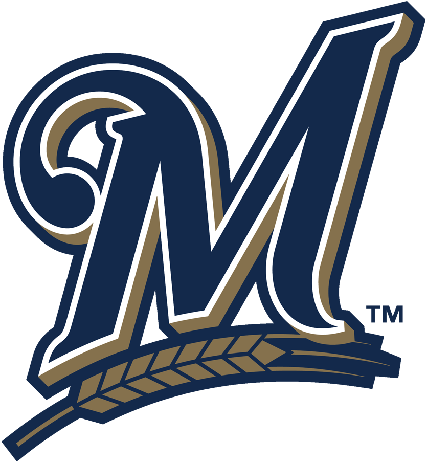 Milwaukee Brewers Logo Primary Logo (2018-2019) - Blue M with wheat below in gold SportsLogos.Net