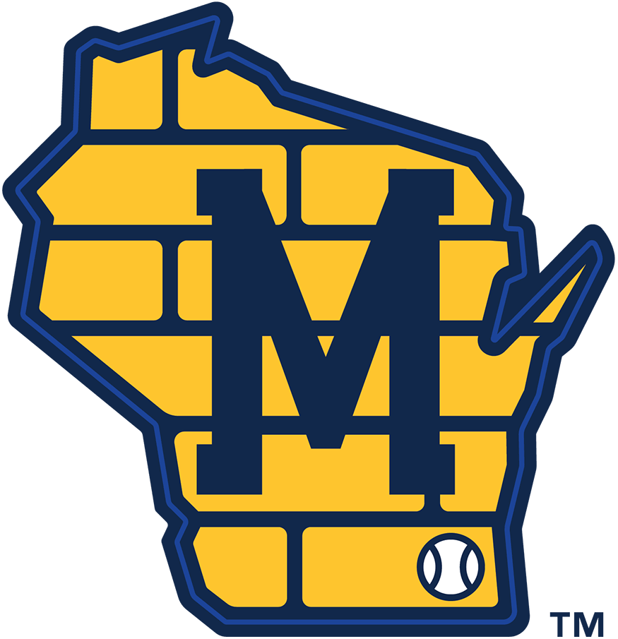 Milwaukee Brewers Logo Alternate Logo (2020-Pres) - Map of the state of Wisconsin in yellow and blue with a brick pattern on the map, a block letter M and a baseball showing the location of Milwaukee SportsLogos.Net
