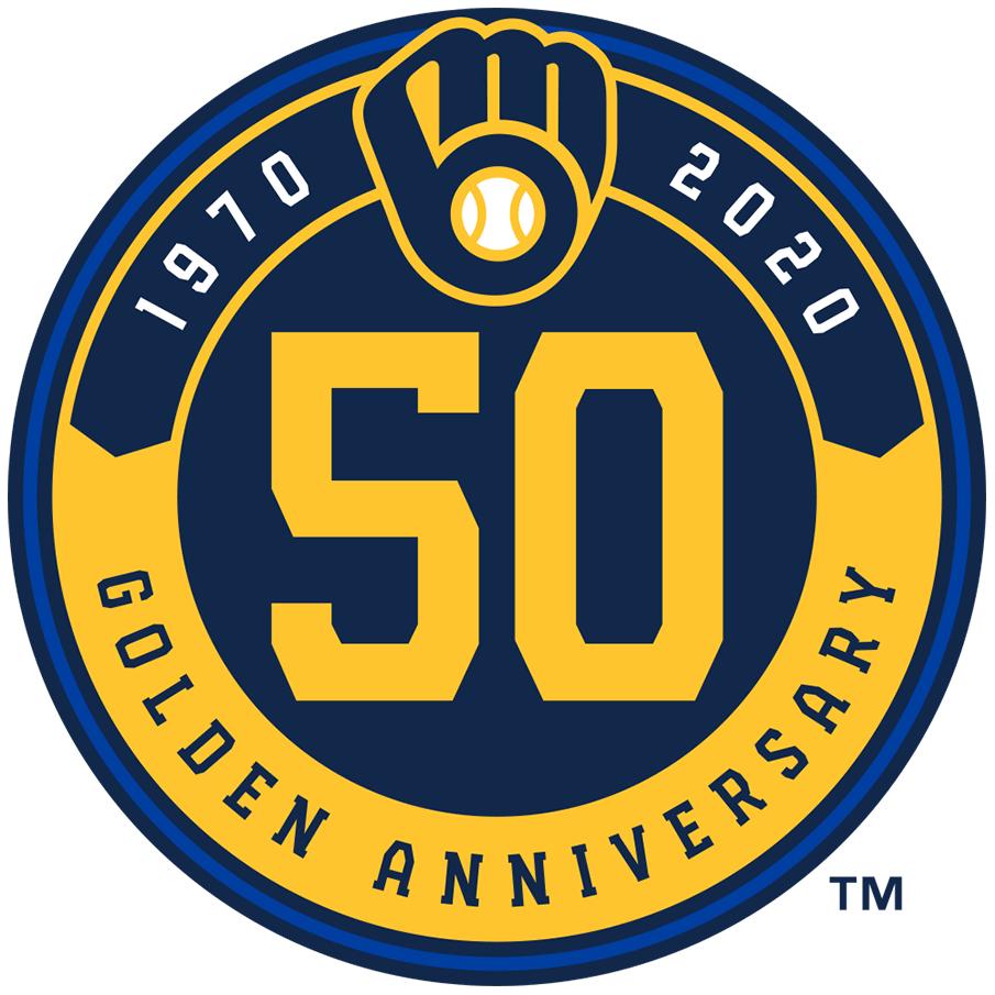 Milwaukee Brewers Logo Anniversary Logo (2020) - Milwaukee Brewers 50th anniversary logo, worn on right sleeve of all team jerseys during the 2020 season SportsLogos.Net