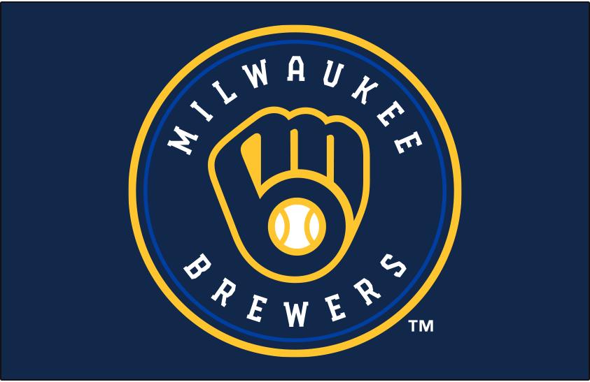 Milwaukee Brewers Logo Primary Dark Logo (2020-Pres) - Milwaukee Brewers primary logo on navy blue background SportsLogos.Net