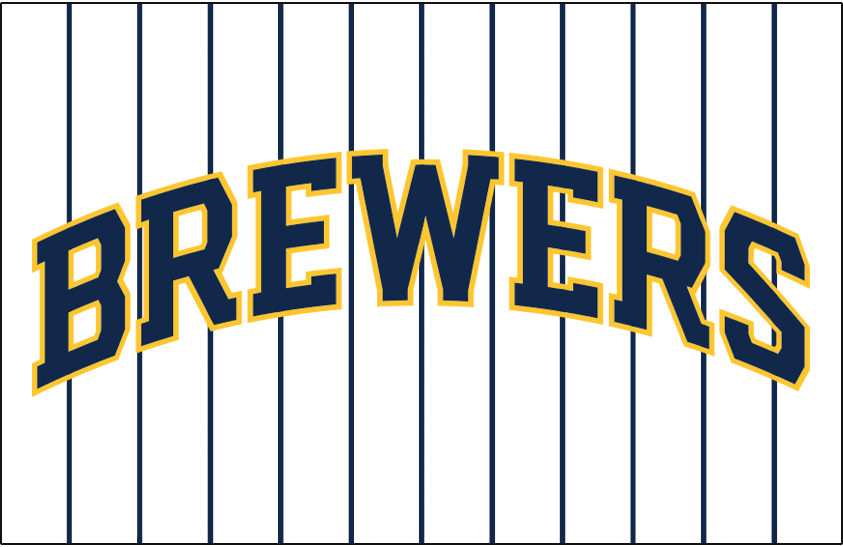 Milwaukee Brewers Logo Jersey Logo (2020-Pres) - BREWERS arched in blue and gold on a white jersey with navy blue pinstripes, worn on Milwaukee Brewers home alternate jersey starting in 2020 SportsLogos.Net