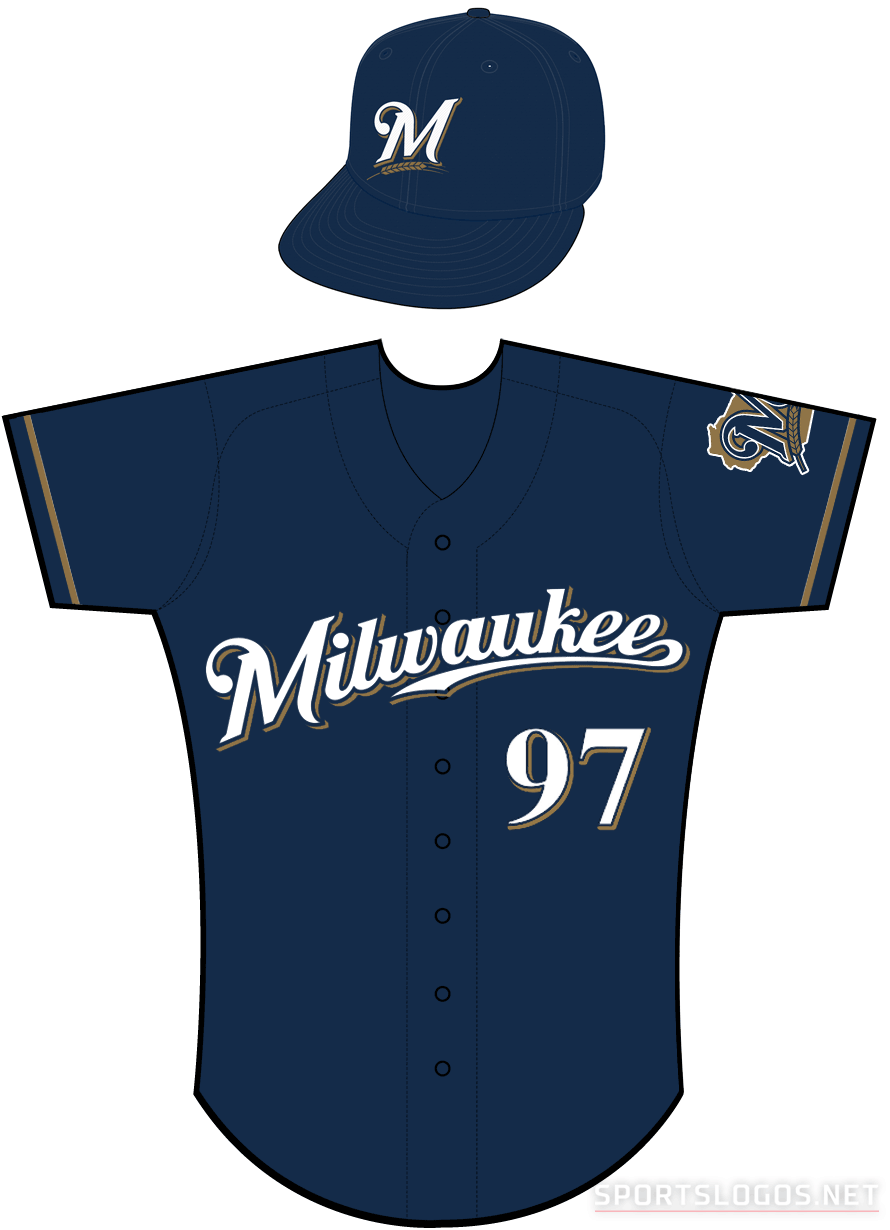 Milwaukee Brewers Uniform Alternate Uniform (2010-2015) - Milwaukee scripted in white with a navy outline and a gold shadow on a navy uniform with gold sleeve piping SportsLogos.Net