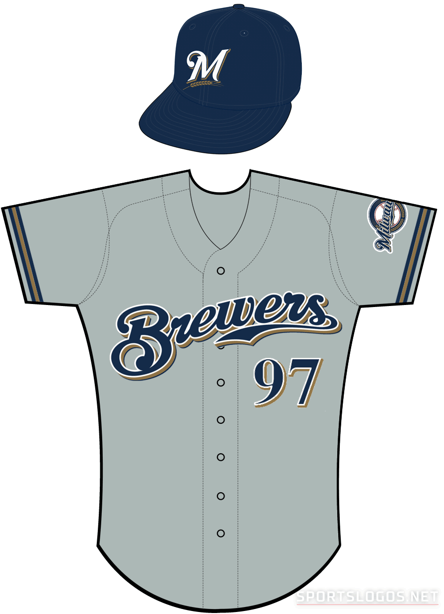 Milwaukee Brewers Uniform Road Uniform (2000-2019) - Brewers scripted in navy with a white outline and a gold shadow on a grey uniform with navy and gold sleeve piping SportsLogos.Net