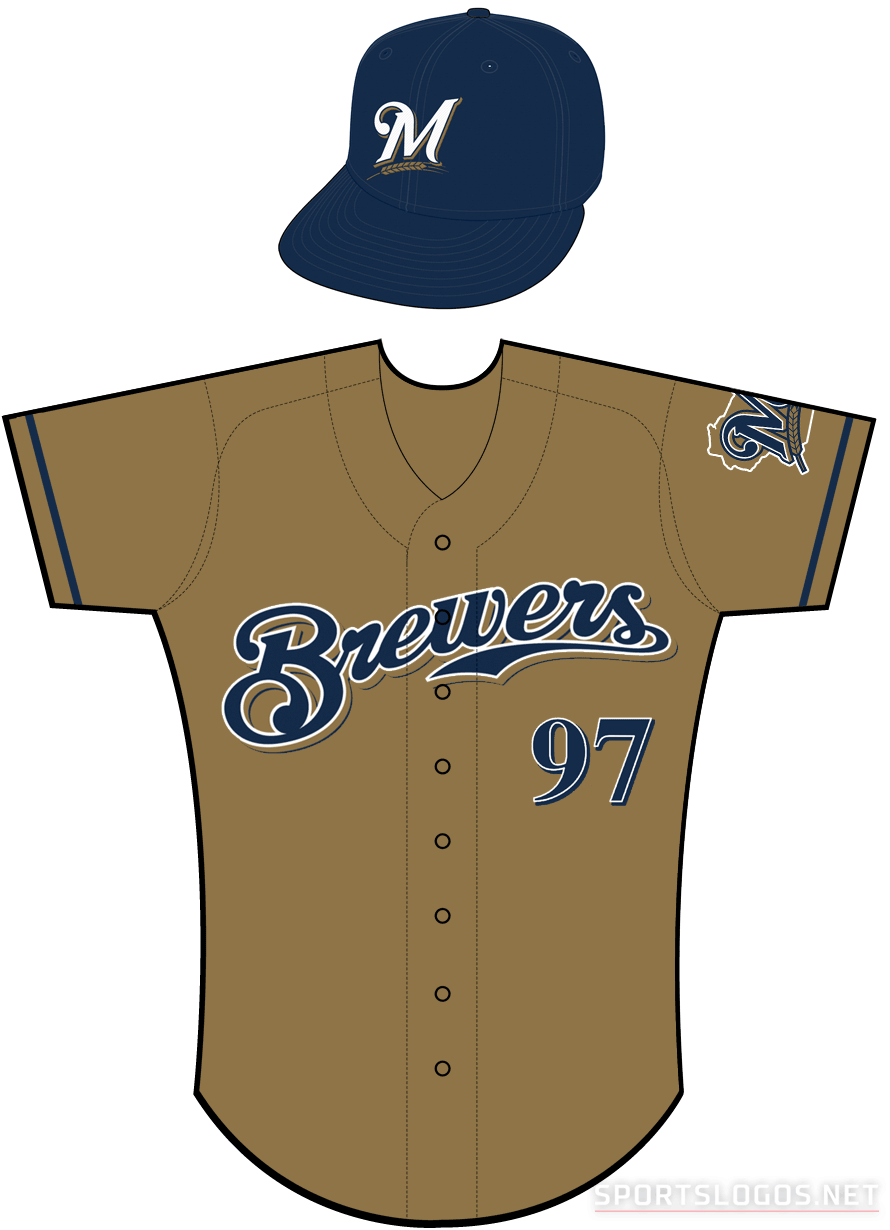 Milwaukee Brewers Uniform Alternate Uniform (2013-2015) - Brewers scripted in navy with a white outline and a navy shadow on a gold uniform with navy sleeve piping SportsLogos.Net