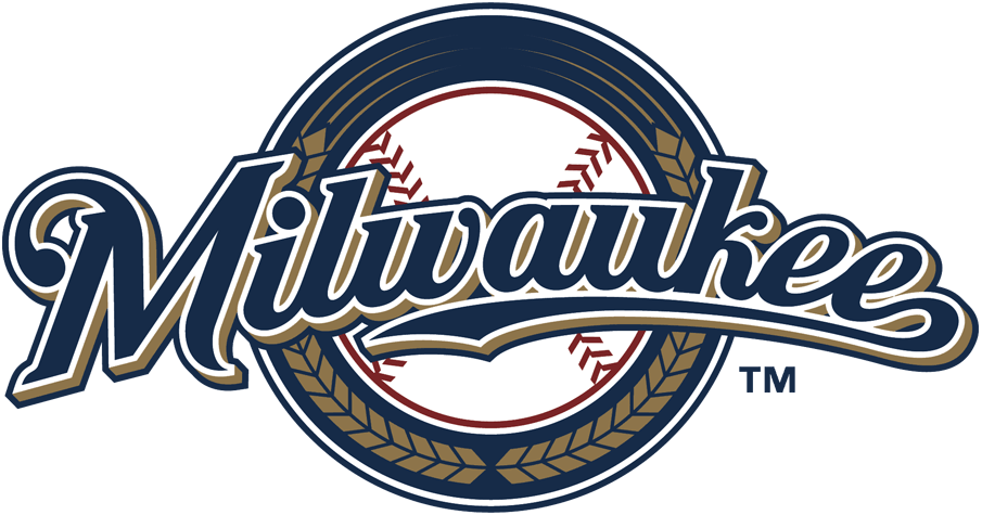 Milwaukee Brewers Logo Alternate Logo (2000-2019) - Milwaukee scripted in blue and gold with blue ring SportsLogos.Net