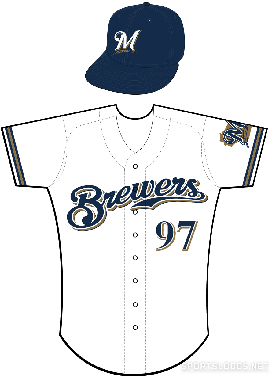 Milwaukee Brewers Uniform Home Uniform (2000-2019) - Brewers scripted in navy with a white outline and a gold shadow on a white uniform with navy and gold sleeve piping SportsLogos.Net