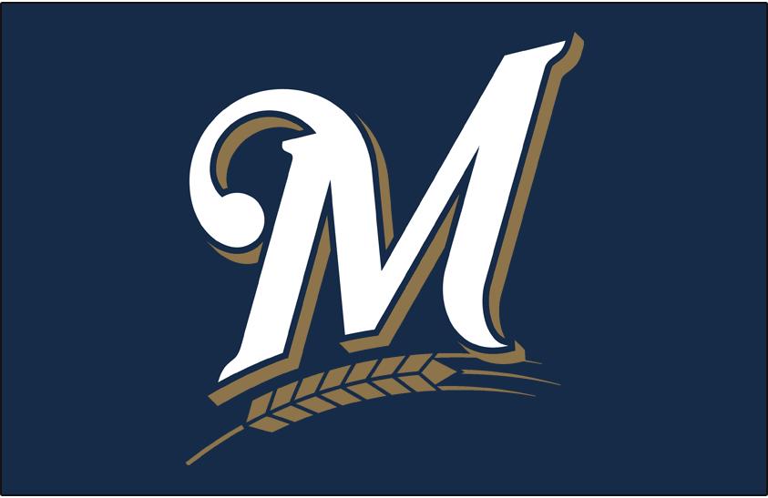 Milwaukee Brewers Logo Cap Logo (2000-2019) - Stylized white M over gold barley on blue SportsLogos.Net