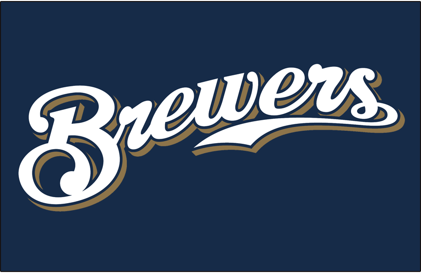 Milwaukee Brewers Logo Jersey Logo (2000-2019) - (Alternate) Brewers scripted in white with a navy outline and a gold shadow on navy SportsLogos.Net