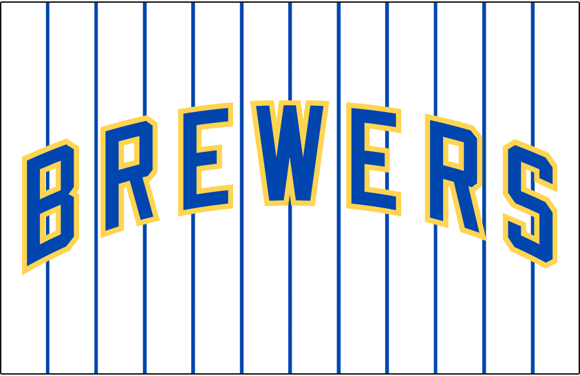 Milwaukee Brewers Logo Jersey Logo (2006-2019) - (Retro Alternate) Brewers arched in blue with a yellow outline on a white uniform with blue pinstripes SportsLogos.Net