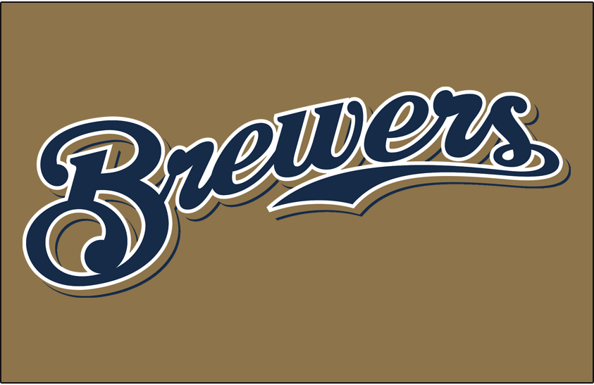 Milwaukee Brewers Logo Jersey Logo (2013-2015) - Brewers scripted in navy with a white outline and a navy shadow on gold, worn on the Brewers gold alternate jersey from 2013 until 2015 SportsLogos.Net