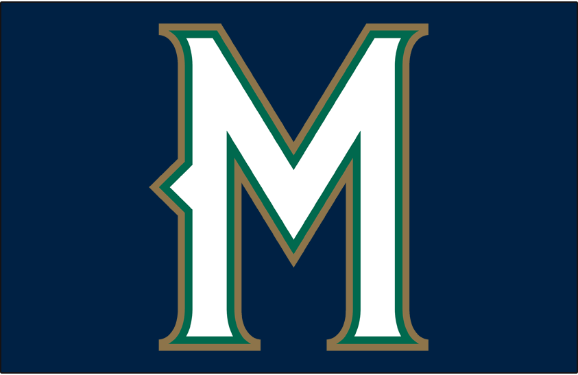 Milwaukee Brewers Logo Cap Logo (1998-1999) - Stylized M in white with green and gold outlines on blue, worn for Brewers home games only from 1997 until 1999 SportsLogos.Net