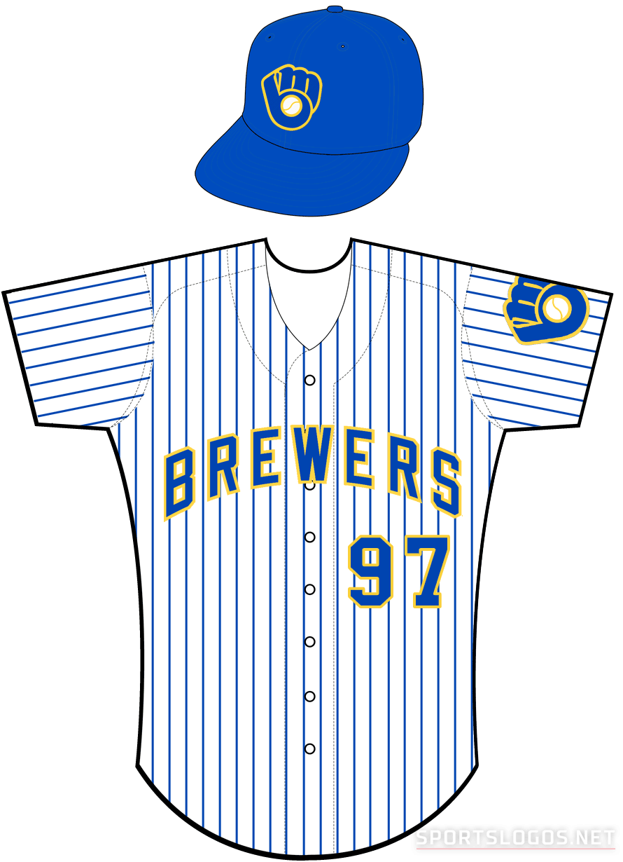 Milwaukee Brewers Uniform Alternate Uniform (2006-2019) - Brewers arched in blue with a yellow outline on a white uniform with blue pinstripes SportsLogos.Net