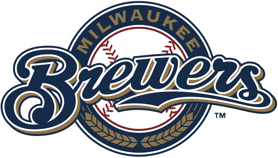 Milwaukee Brewers Logo Primary Logo (2000-2017) - Brewers scripted in blue and gold with blue ring SportsLogos.Net