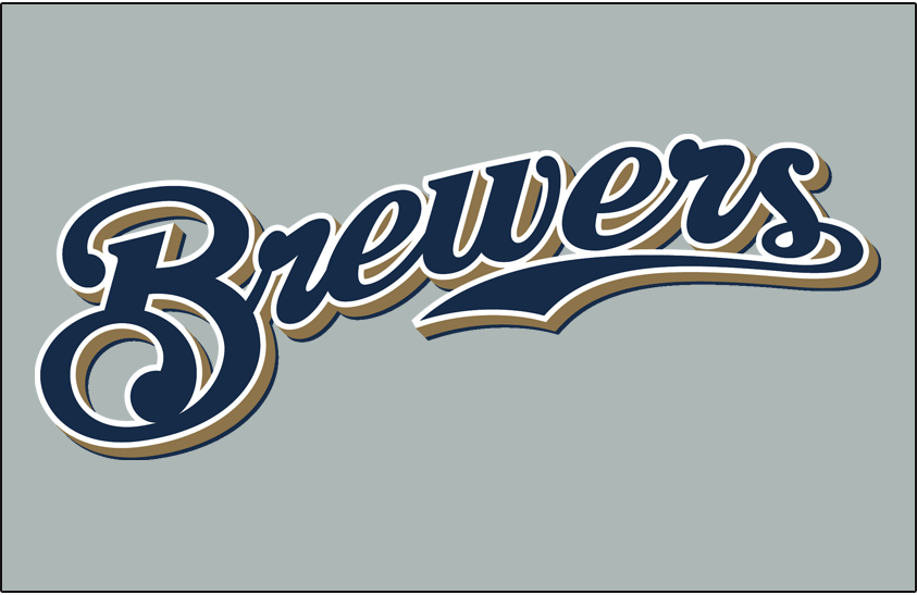 Milwaukee Brewers Logo Jersey Logo (2000-2019) - (Road) Brewers scripted in navy with a white outline and a gold shadow on grey SportsLogos.Net