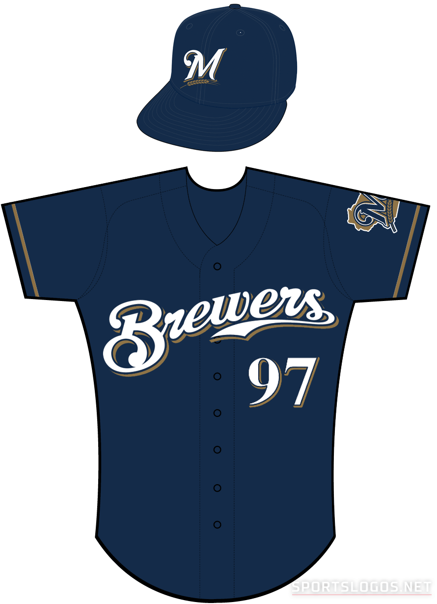Milwaukee Brewers Uniform Alternate Uniform (2000-2019) - Brewers scripted in white with a navy outline and a gold shadow on a navy uniform with gold sleeve piping SportsLogos.Net