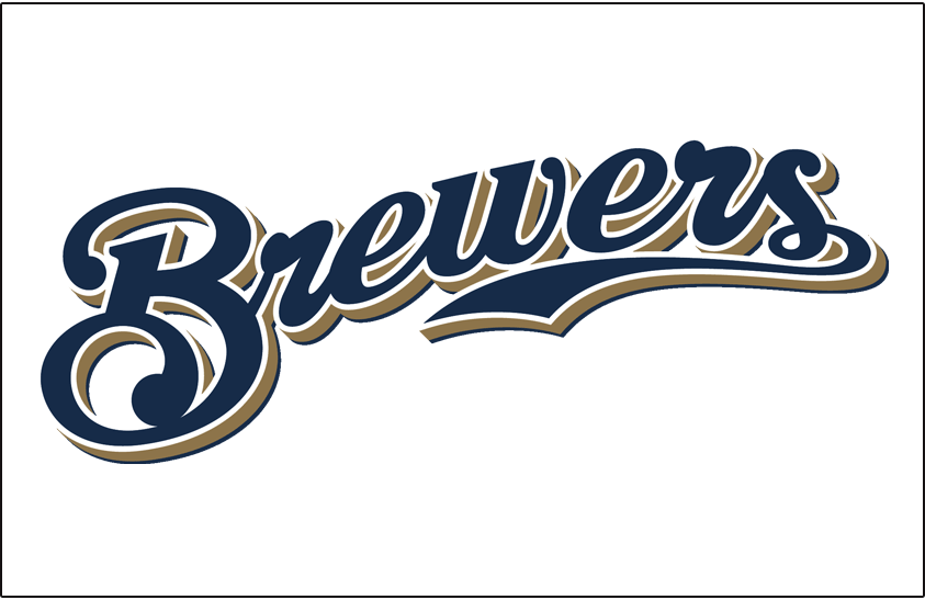 Milwaukee Brewers Logo Jersey Logo (2000-2019) - (Home) Brewers scripted in navy with a white outline and a gold shadow on white SportsLogos.Net