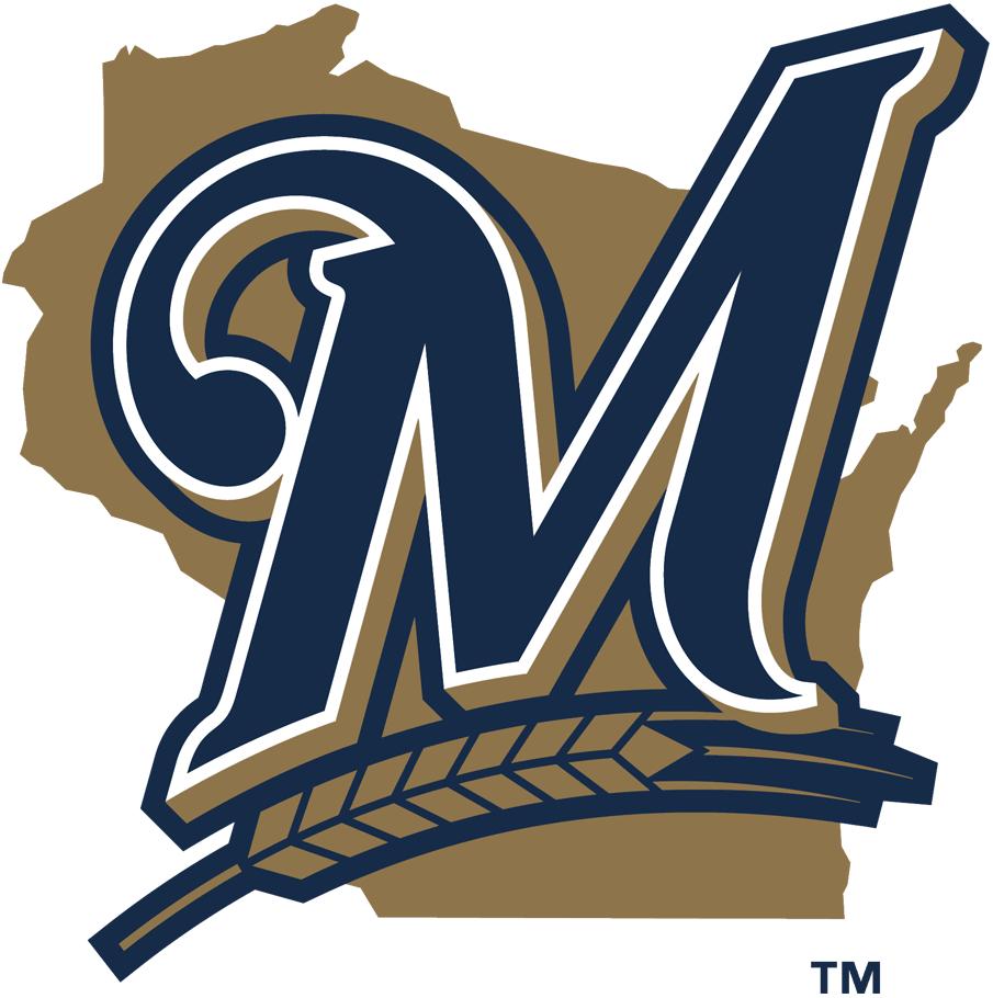 Milwaukee Brewers Logo Alternate Logo (2000-2019) - Blue stylized M with barley on gold Wisconsin SportsLogos.Net