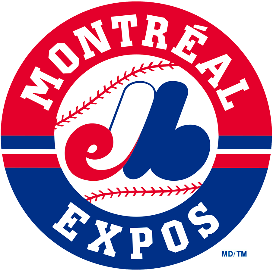 Montreal Expos Logo Primary Logo (1992-2004) - eMb in red white in blue on a baseball inside a red and blue ring reading Montreal Expos SportsLogos.Net