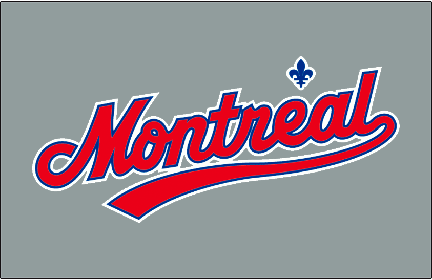 Montreal Expos Logo Jersey Logo (2003-2004) - Montreal scripted in red and outlined in blue and white, a blue fleur-de-lis above the e. Worn on the Montreal Expos road jersey in 2003 and 2004. Shade of grey used for the jersey was changed slightly prior to the 2003 season SportsLogos.Net