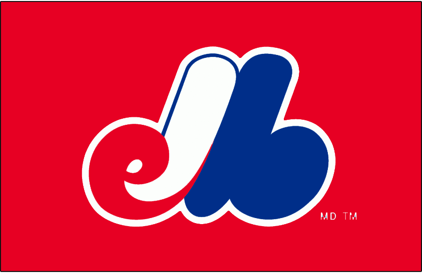 Montreal Expos Logo Batting Practice Logo (1999-2004) - (BP) eMb with a white outline on red SportsLogos.Net