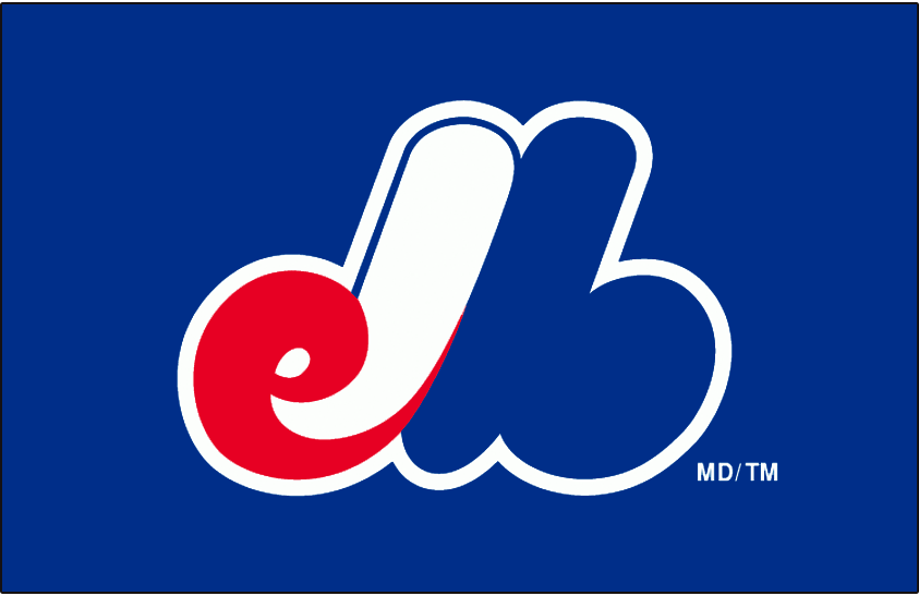 Montreal Expos Logo Cap Logo (1992-2004) - eMb with a white outline on blue SportsLogos.Net