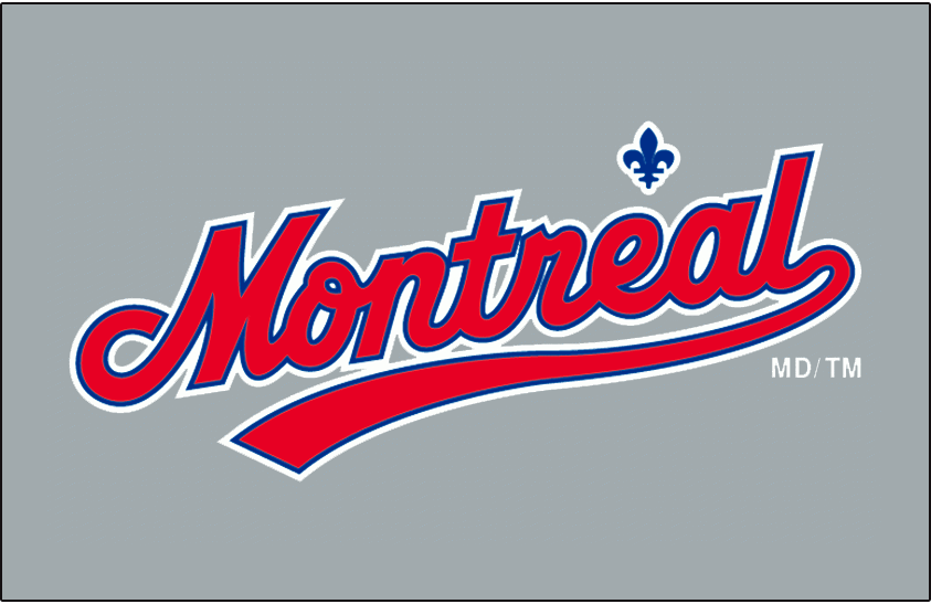 Montreal Expos Logo Jersey Logo (1992-2002) - Montreal scripted with underscore in red with blue and white outlines, with fleur-de-lis above in blue with a white outline, on grey. Worn on the Montreal Expos road uniform from 1992 until 2002. In 2003 the shade of grey used for the road uniform was changed slightly. SportsLogos.Net