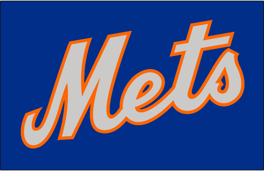 New York Mets Logo Jersey Logo (1983-1984) - Mets in silver and orange on blue, worn on New York Mets road alternate jersey in 1983 and 1984 SportsLogos.Net