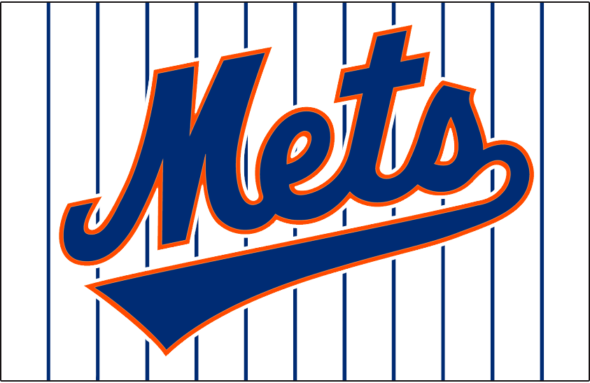 New York Mets Logo Jersey Logo (1993-1994) - Mets scripted in blue with underscore and an orange outline, worn on New York Mets home pinstripe jerseys in 1993 and 1994 SportsLogos.Net