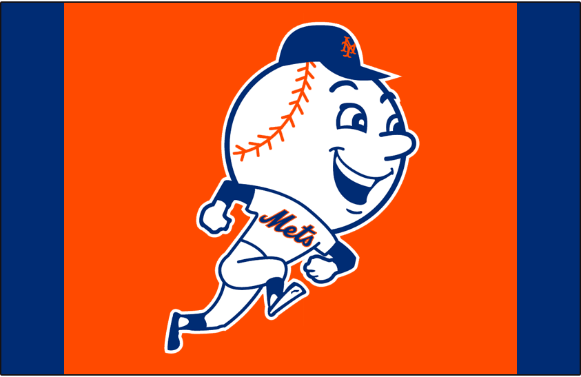 New York Mets Logo Batting Practice Logo (2015-Pres) - Mr. Met mascot running on orange with blue sides - worn on New York Mets batting practice cap starting in 2015 SportsLogos.Net