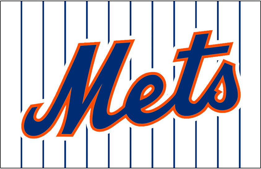 New York Mets Logo Jersey Logo (1995-1997) - Mets scripted in blue with orange and white outlines on a white uniform with blue pinstripes, worn on New York Mets home jersey from 1995-1997 SportsLogos.Net